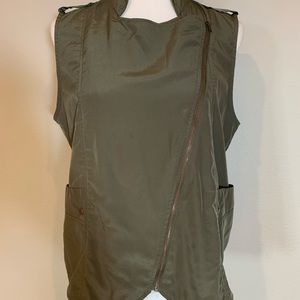 Army green silky zip-up vest